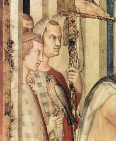 The Emperor lays on St.. Martin conscription (investiture). Fragment. Knights. Simone Martini