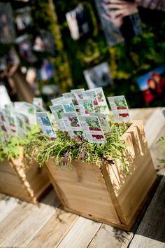 seed packet escort cards, photo by Brookelyn Photography http://ruffledblog.com/rooftop-farm-wedding #weddingideas #seatingchart