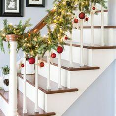 Christmas Stairs Decorating holiday, christma cheer, christma stair, christma decor, christmas stairs, stair decor, decor garland, christmas garlands, diy christmas