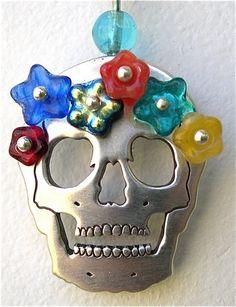 Dia de Los Muertos/Day of the Dead~ Silver Skull Pendant