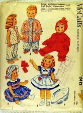 1960 vintage sewing pattern: TODDLER DOLL CLOTHES 23