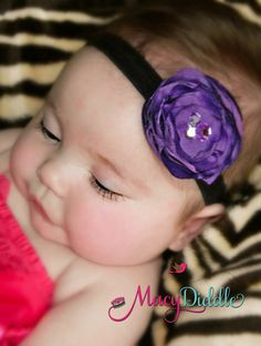 Deep Purple Satin Flower Rhinestones FREE flower or by MacyDiddle, $10.00 baby