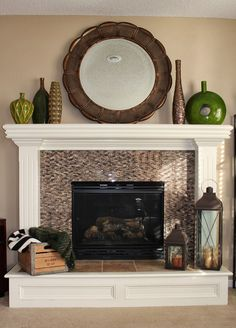 tile surround, fireplace makeover ideas, chimney makeover, fireplac makeov, tile fireplace makeover, basement, fireplace hearth, live room, fireplace makeovers