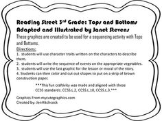 Reading Street 3rd Grade Tops and Bottoms Sequencing and Literary Elements extension/enrichment activity