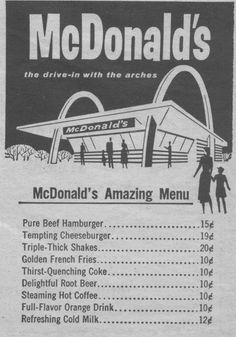 original McDonald's menu...Oh my goodness!  Copy this menu, find the percent increase in price, compare to cost of living increase and more!
