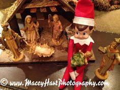 Elf on the Shelf takes care of baby Jesus! www.facebook.com/Maceyhartphotography