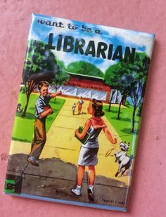 LIBRARY  LIBRARIAN themed vintage book cover MAGNET set
