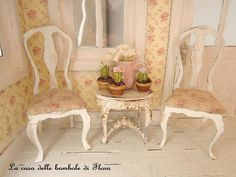 Two lovely chairs  1/12 dolls house dollhouse by FloraDollhouse, $27.00