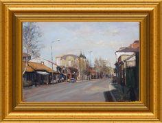 Dragoljub Stankovic Civi - Old street in Leskovac - oil on canvas - 50x35 cm - 2012.  Dragoljub Stankovic Civi - Siroka carsija Leskovac - ulje na platnu - 50x35 cm - 2012.