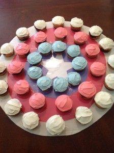 Captain America cupcake shield