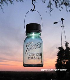 Outdoor Lantern Mason Jar Solar Hanging Light by treasureagain http://etsy.me/13gqxJW