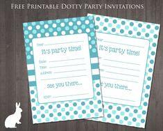 Two FREE blue spotty party invitations