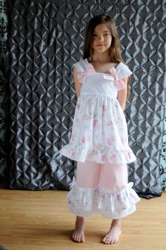Shabby Chic Vintage Sweet ruffled boutique dress with double ruffle pants
