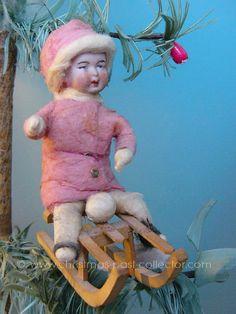 Antique Heubach Bisque Face Sledding Girl Christmas Ornament