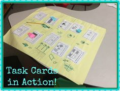 What a great way to get an entire class involved with task cards! Glue individual cards onto a large piece of chart paper and let groups solve them. Then, students rotate through several other charts to check work and flag potential errors. The original group returns to their chart and fixes any mistakes. Love this idea!
