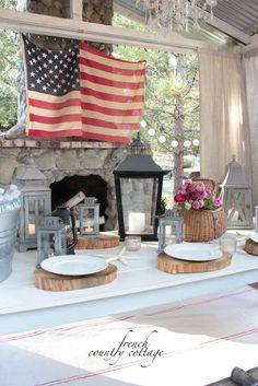lantern, country cottages, flag, dinner tabl, countri cottag