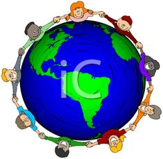 Royalty Free Clipart Image of Children Holding Hands Around the World