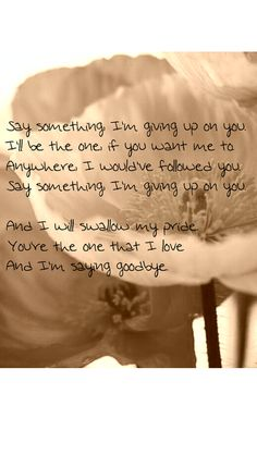I'm giving up on you... Say Something - A Great Big World. Love this song so much. Exactly how I felt about 2 years ago. I would have followed you anywhere, but I had to give up...and say goodbye...and it was one of the hardest decisions of my life...