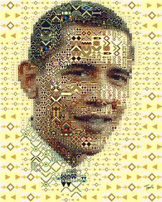 Charis Tsevis is an illustrator who makes mosaic portraits and other images out of lots of little photographs and graphic elements. He has a great collection of Barack Obama portraits, done in a variety of styles and with different types of small images. You can see his full collection of Obama portraits, complete with background information about how there were created, here.