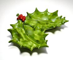 Vintage 1950s Holly Dish with Red Berries by borahstyle on Etsy, $15.00