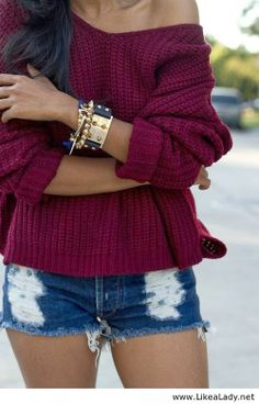 Burgundy Sweater With Jeans Shorts