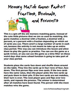 Fractions, Decimals, and Percents Memory Matching Game