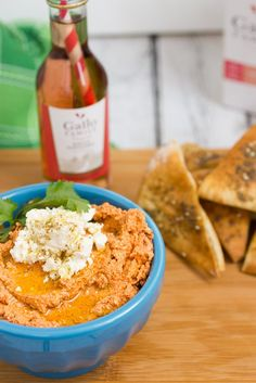 Sun-dried Tomato and Feta Dip with Za'atar Chips #SundaySupper from The Girl In The Little Red Kitchen