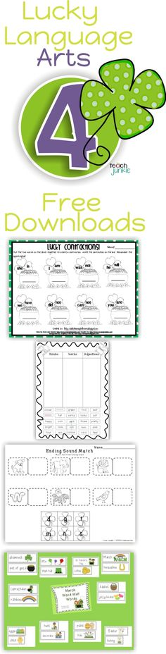 Lucky Language Arts { 4 Free Downloads} Contractions, nouns, verbs, ending sounds and word wall cards