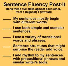 Sentence Fluency Post-It