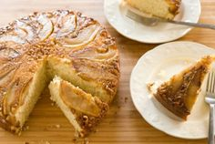 Pear and Walnut Upside Down Cake // Don't be afraid to serve something other than pie! #holiday #recipe #Thanksgiving whole foods market, cake mixes, walnut, upside down cakes, holiday recipes, yellow cakes, cake recipes, food market, pear