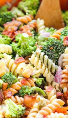 Broccoli, Bacon and Pasta Salad #broccoli
