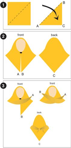 How to wear a square scarf as hijab.