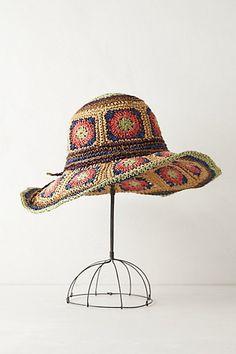 Crochet Sun hat. Made using paper yarn :-)