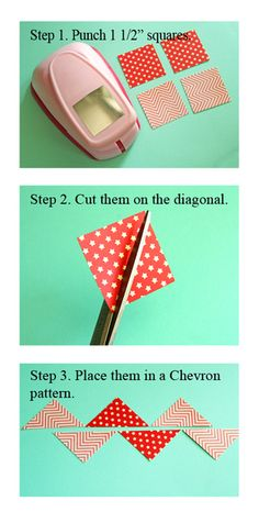 Chevron pattern using punched squares