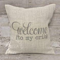 rustic baby crib, burlap pillows, nurseri, pillow covers, baby shower gifts, crib burlap, rustic crib, baby showers