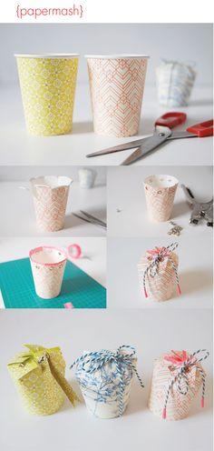 Papermash Paper cup gift box DIY