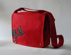 Red linen messenger bag with black cat