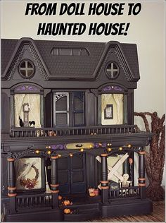 Spray paint an old doll house and turn it into a haunted house!