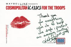 Katherine Heigl #kissesforthetroops Submit your virtual kiss at Cosmopolitan.com/kisses & we'll donate a dollar to USO!