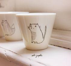cup, kitten, cat
