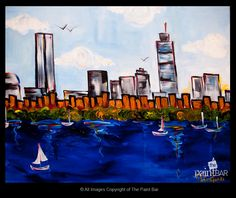 Daytime Boston Skyline Painting - Jackie Schon, The Paint Bar