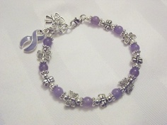 Lavender awareness bracelet with butterflies!!!!