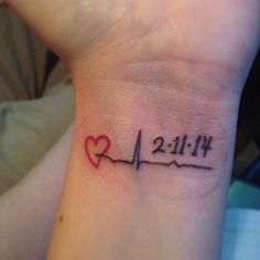 My memorial tattoo for Nana. This is her last heartbeat before she became an angel. I will forever ever have a piece of her on me