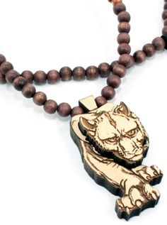 """Stalking Panther"" Necklace by GoodWood (Basswood) #InkedShop #panther #wood #necklace #jewelry #style #fashion"