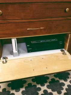 DIY step-by-step. how to hinge a dresser drawer.  turning a dresser into a tv stand.  our little shoebox.