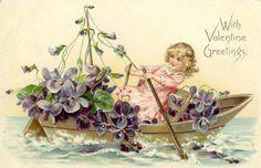 Girl with violets - Vintage Valentine card