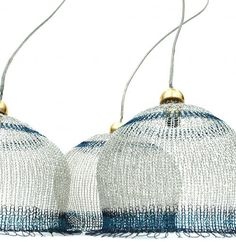 Lampshades by Yoola made using a wire crochet technique called ISK, or invisible spool knitting.
