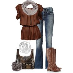 outfits, blouses, woman fashion, accessori, cappuccino delight, riding boots, polyvore, earring, bags
