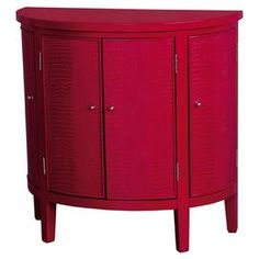"""With a bold red faux croc finish and 4 doors opening to a crisp white interior, this stunning cabinet brings dramatic style to your living room or master suite   Product: CabinetConstruction Material: WoodColor: RedFeatures:  Faux croc embossed surfaceSleek white interiorFour doorsDimensions: 38"""" H x 37"""" W x 19"""" D"""