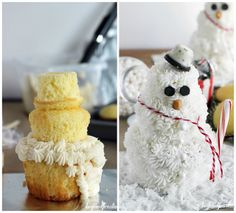 Stacked Cupcake Snowman | beyondfrosting.com | #snowman #cupcake #christmas
